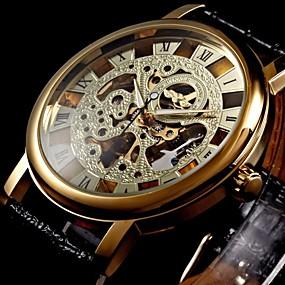 Недорогие Фирменные часы-WINNER Муж. Часы со скелетом Наручные часы Механические часы Механические, с ручным заводом Стеганная ПУ кожа Черный С гравировкой Аналоговый Роскошь - Золотой
