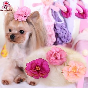 Недорогие Бижутерия и аксессуары для собак-Кошка Собака Аксессуары для создания прически Бант Косплей Свадьба Одежда для собак Розовый Розовый Светло-Розовый Костюм Терилен