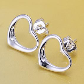 olcso Ezüst-Női Beszúrós fülbevalók Szív Szerelem hölgyek Ezüstözött Fülbevaló Ékszerek Ezüst Kompatibilitás Esküvő Álarcos mulatság Eljegyzés Diákbál Ígéret