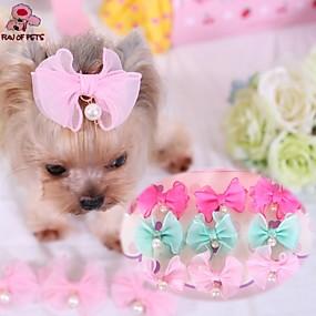 Недорогие Бижутерия и аксессуары для собак-Кошка Собака Аксессуары для создания прически Бант Косплей Свадьба Одежда для собак Синий Розовый Розовый Костюм Терилен