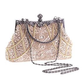 cheap Women's Bags-Women's Imitation Pearl / Crystal / Rhinestone Polyester Evening Bag Rhinestone Crystal Evening Bags Geometric Champagne / Black / Gold