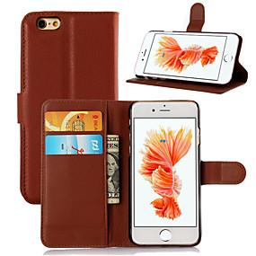 olcso Kiárusítás-Case Kompatibilitás Apple iPhone 6s Plus / iPhone 6s / iPhone 6 Plus Kártyatartó / Flip Héjtok Egyszínű Kemény PU bőr