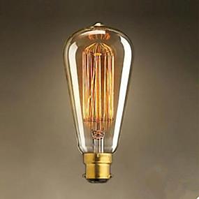 ieftine Becuri Incandescente-1 buc 40 W / 60 W B22 ST64 Alb Cald 2300 k Incandescent Vintage Edison bec 220-240 V / 220 V