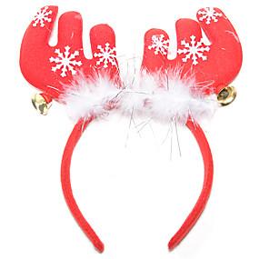 olcso Vakációs kellékek-Karácsonyi partieszközök Rénszarvas Antlers fejpánt Száncsengő Textil Tollak Pamut Játékok Ajándék 1 pcs