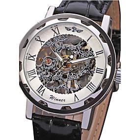 Недорогие Фирменные часы-WINNER Муж. Часы со скелетом Наручные часы Механические часы Механические, с ручным заводом Крупногабаритные Стеганная ПУ кожа Черный С гравировкой Аналоговый Роскошь - Белый Черный Синий