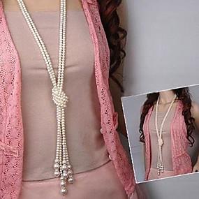 olcso Többsoros nyaklánc-Női Gyöngy Y nyaklánc Rakott nyakláncok hosszú nyaklánc Többrétegű Kötőfék Csomó hölgyek Ázsiai Divat Többrétegű Gyöngy Gyöngyutánzat Fehér Nyakláncok Ékszerek Kompatibilitás Parti Napi Hétköznapi