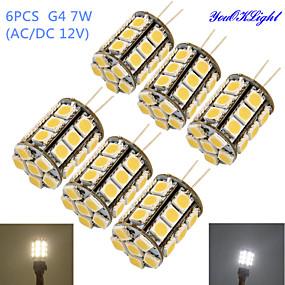 رخيصةأون مصابيح ليد ثنائية-YouOKLight 6PCS 4 W أضواء LED ذرة 250-300 lm G4 T 27 الخرز LED مصلحة الارصاد الجوية 5050 ديكور أبيض دافئ أبيض كول 12 V / 6 قطع / بنفايات