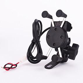 voordelige Motor- & ATV-onderdelen-nieuwe 12v x-grip motorfiets scooter mobiele telefoonhouder houder, 5v 2.1a usb-poort auto-oplader voor iPhone Samsung smartphones