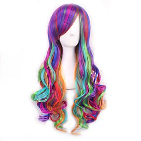 ieftine Sănătate & Înfrumusețare-Peruci de Cosplay Peruci Sintetice Buclat Buclat Perucă Curcubeu Păr Sintetic Pentru femei Păr Ombre Multi-Color