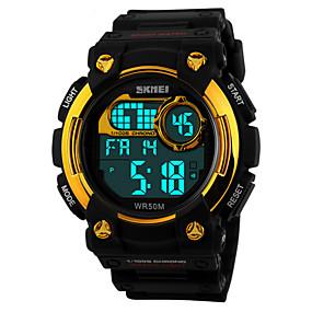 baratos Relógios de Marca-Homens Relógio Esportivo Relógio de Pulso Digital Preta 50 m Impermeável Alarme Calendário Digital Vermelho Azul Dourado