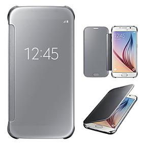 voordelige Galaxy S7 Hoesjes / covers-hoesje Voor Samsung Galaxy S7 edge / S7 / S6 edge plus met venster / Spiegel / Flip Volledig hoesje Effen PC