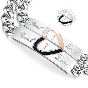 povoljno Personalizirani printevi i darovi-Valentinovo darove personalizirane nakit ljubavnici titana čelika zlato / crna narukvica (jedan par)