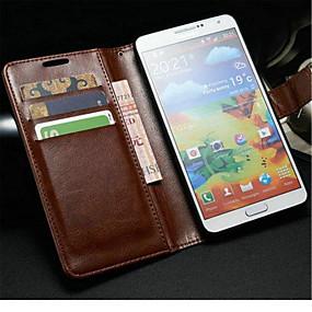 olcso Samsung tartozékok-Case Kompatibilitás Samsung Galaxy Note 3 Pénztárca / Kártyatartó / Állvánnyal Héjtok Egyszínű PU bőr