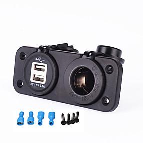 Недорогие Автомобильные зарядные устройства-iztoss автомобильное зарядное устройство 12-24 В прикуривателя 5 В 3.1a двойной usb-адаптер для мотоцикла