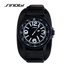 baratos Relógios de Marca-SINOBI Homens Relógio Esportivo Relógio de Pulso Quartzo Couro Preta 30 m Impermeável Relógio Esportivo Analógico Clássico - Preto