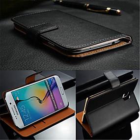 رخيصةأون Galaxy S5 أغطية / كفرات-غطاء من أجل Samsung Galaxy S7 edge / S7 / S6 edge plus حامل البطاقات / قلب غطاء كامل للجسم لون سادة جلد أصلي