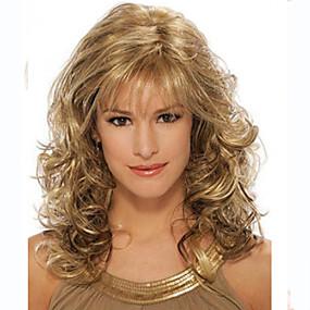 ieftine Sănătate & Înfrumusețare-Peruci Sintetice Buclat Buclat Perucă Auriu Mediu Păr Sintetic Pentru femei Auriu