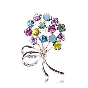 olcso Virágos ékszerek-Női Melltűk Virág Virág hölgyek Luxus Party Divat Hamis gyémánt Bross Ékszerek Szivárvány Kompatibilitás Parti Különleges alkalom Születésnap Ajándék Napi