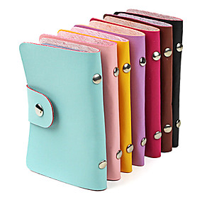 cheap Stationery-Stylish PU Leather Business Credit Card Holder(24-Pocket Assorted Color)