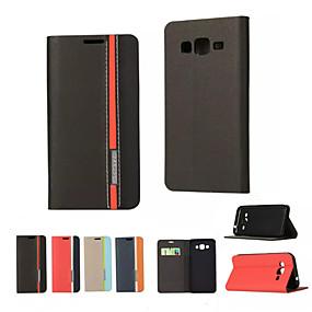 voordelige Galaxy J7 Hoesjes / covers-hoesje Voor Samsung Galaxy On 5 / J7 / J5 Kaarthouder / met standaard / Flip Volledig hoesje Effen PU-nahka