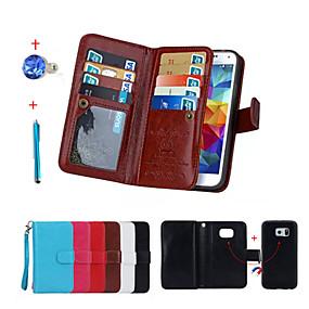 voordelige Galaxy S6 Edge Plus Hoesjes / covers-hoesje Voor Samsung Galaxy S6 edge plus / S6 edge / S5 Portemonnee / Kaarthouder / met standaard Volledig hoesje Effen Hard PU-nahka