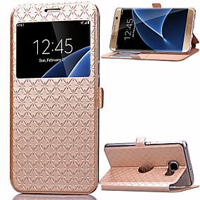 voordelige Galaxy S7 Edge Hoesjes / covers-hoesje Voor Samsung Galaxy S8 Plus / S8 / S7 edge Kaarthouder / met standaard / met venster Volledig hoesje Geometrisch patroon PU-nahka