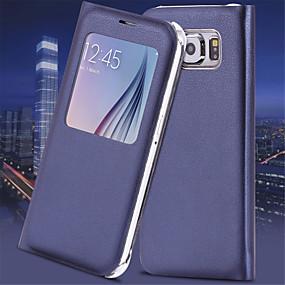 voordelige Galaxy S7 Edge Hoesjes / covers-hoesje Voor Samsung Galaxy S7 edge / S7 / S6 edge plus met venster / Automatisch aan / uit / Flip Volledig hoesje Effen PU-nahka