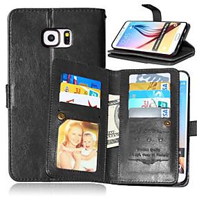 olcso Galaxy S4 tokok-Case Kompatibilitás Samsung Galaxy S7 edge / S7 / S6 edge plus Pénztárca / Kártyatartó / Állvánnyal Héjtok Egyszínű PU bőr