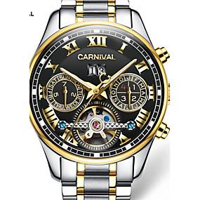 Недорогие Фирменные часы-Carnival Муж. Часы со скелетом С автоподзаводом Нержавеющая сталь Белый / Золотистый 30 m С гравировкой Аналого-цифровые Кулоны - Черный / Золотистый