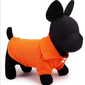 preiswerte Haustierzubehör-Hund T-shirt Solide Lässig / Alltäglich Simple Style Hundekleidung Gelb Rot Blau Kostüm Baumwolle XS S M L XL