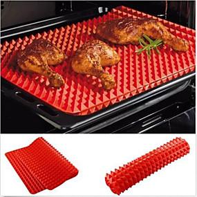 olcso Konyhai eszközök és edények-vörös piramis pan teflon szilikon sütés mat penész főzés mat sütő tepsire
