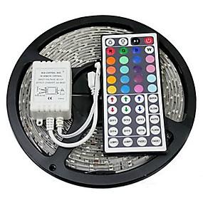 baratos Casa & Jardim-Zdm 5m 300 x 5050 10mm rgb led tiras luz flexível e ir 44key controle remoto vinculável auto-adesivo mudança de cor