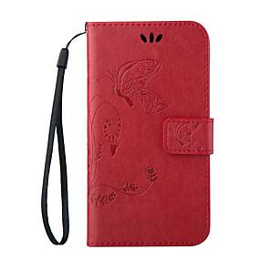 voordelige Galaxy Ace 4 Hoesjes / covers-hoesje Voor Samsung Galaxy Trend Lite / On 7 / On 5 Portemonnee / Kaarthouder / met standaard Volledig hoesje Vlinder PU-nahka