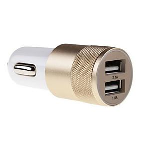 voordelige Autoladers-2.1a 1.0a aluminium 2 usb-poorten Universele USB auto-oplader voor de telefoon 5 6 6 plus voor iPad 2 3 4 5 voor