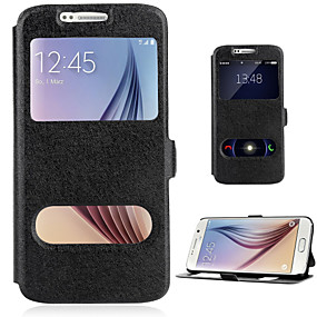 voordelige Galaxy S7 Hoesjes / covers-hoesje Voor Samsung Galaxy S8 Plus / S8 / S7 edge Kaarthouder / met standaard / met venster Volledig hoesje Effen PU-nahka