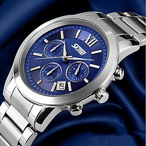 Недорогие Фирменные часы-SKMEI Муж. Наручные часы Нержавеющая сталь Серебристый металл 30 m Защита от влаги Календарь Аналоговый Роскошь - Белый Черный Синий Два года Срок службы батареи