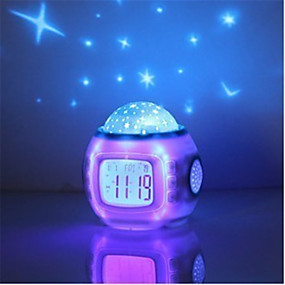 זול נורות לילה לד-מוסיקה כוכב כוכב השמים דיגיטלי הוביל הקרנה מקרן שעון מעורר