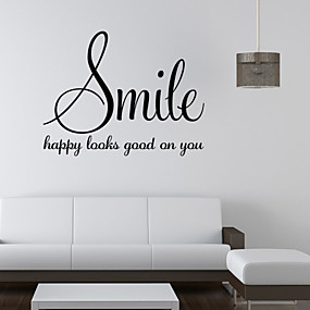 cheap Decoration Stickers-Words & Quotes Wall Stickers Words & Quotes Wall Stickers Decorative Wall Stickers, PVC(PolyVinyl Chloride) Home Decoration Wall Decal Wall Decoration / Removable / Re-Positionable