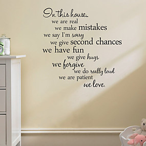 cheap Decoration Stickers-Abstract / Words & Quotes Wall Stickers Words & Quotes Wall Stickers Decorative Wall Stickers, PVC(PolyVinyl Chloride) Home Decoration Wall Decal Decoration / Removable / Re-Positionable
