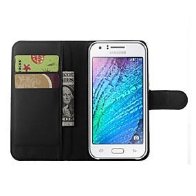 voordelige Galaxy J5 Hoesjes / covers-hoesje Voor Samsung Galaxy J5 Portemonnee / Kaarthouder / met standaard Volledig hoesje Effen Kleur PU-nahka