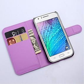 voordelige Galaxy J1 Hoesjes / covers-hoesje Voor Samsung Galaxy J1 Portemonnee / Kaarthouder / met standaard Volledig hoesje Effen Kleur PU-nahka