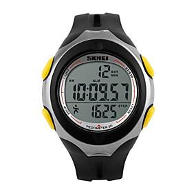 Недорогие Фирменные часы-Муж. Спортивные часы Наручные часы электронные часы Цифровой Стеганная ПУ кожа Черный 30 m Защита от влаги Будильник Календарь Цифровой Роскошь - Черный Желтый Два года Срок службы батареи / LED