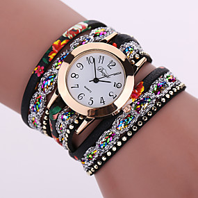 ieftine Cuarț ceasuri-Pentru femei femei Ceas Brățară ceasul cu ceas Quartz Floare Ceas Casual Analog Alb Negru Rosu / Piele / Un an / Un an / Tianqiu 377