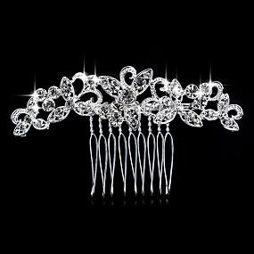 olcso Fejdíszek-Női Elegáns Kristály Hamis gyémánt Ezüst Fésűk Esküvő Parti