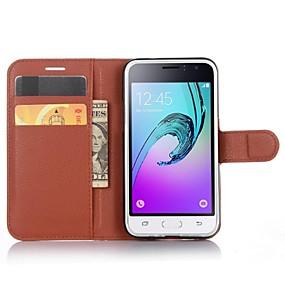 Недорогие Чехлы и кейсы для Galaxy J1(2016)-Кейс для Назначение SSamsung Galaxy J1 (2016) Кошелек / Бумажник для карт / со стендом Чехол Сплошной цвет Кожа PU