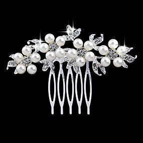 olcso Fejdíszek-Női Elegáns és luxus Kristály Gyöngyutánzat Hamis gyémánt Fésűk Esküvő Parti