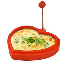 olcso Konyhai eszközök és edények-szilikon szív alakú alakú tojás gyűrű és palacsinta készítő tojásos sült sütés palacsinta sütés penész (véletlenszerű szín)