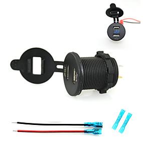 voordelige Autoladers-iztoss autolader dubbele usb-oplader telefoon oplader stopcontact met blauwe voltmeter licht