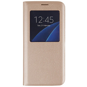 voordelige Galaxy S7 Edge Hoesjes / covers-hoesje Voor Samsung Galaxy S7 edge / S7 / S6 edge plus met venster / Flip Volledig hoesje Effen Hard PU-nahka
