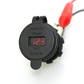 voordelige Autoladers-iztoss autolader voedingsaansluiting met voltmeter waterdichte dubbele usb-poort